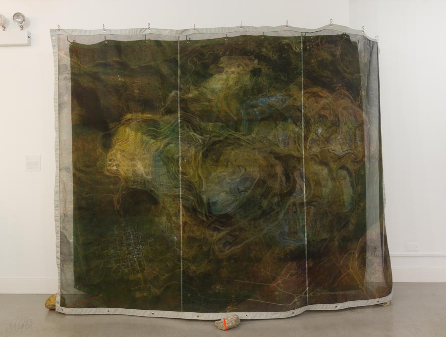 Liz Ensz     Mountain's Memory,  2015    Silkscreen on fabric, thread, grommets, flagging tape, found debris    96 x 116 x 24 inches