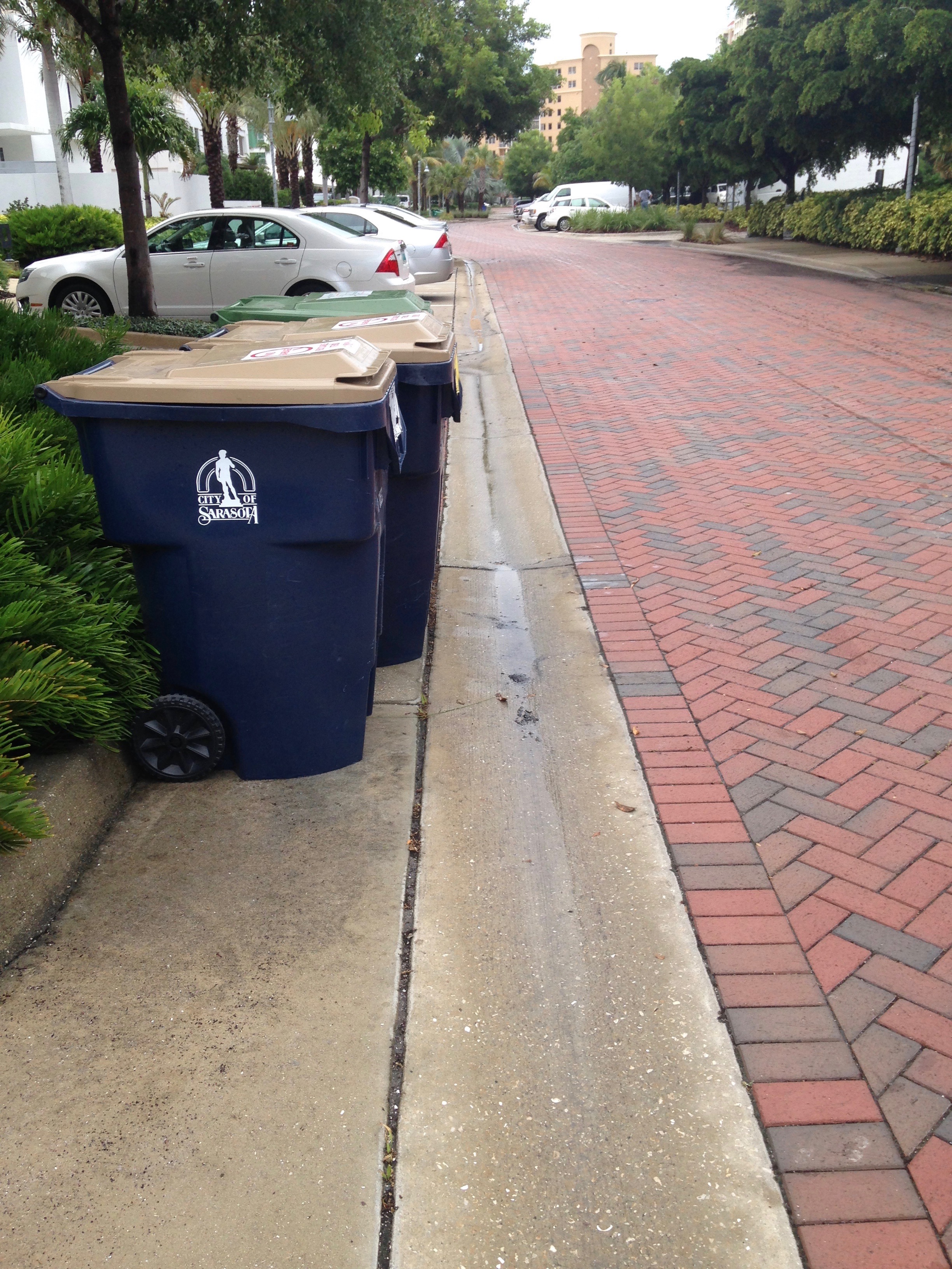 Here the receptacles are outside the V-drain -