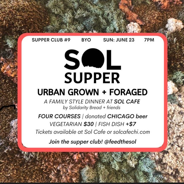 ☀️☀️SOL SUPPER 9: Urban Grown + Foraged☀️☀️ It truly takes a village to create a homegrown feast. Special thanks to everyone contributing, so we can ensure a locally grown meal can be affordable |tix w link in profile | Sun June 23 | 7pm | Four courses | $30 vegetarian | Fish Dish +$7 | BYO | 🍴: @mollysundalbakes | 🎨: @sim1chi . . . . #solcafe #solcafechi #howardstreetchicago #chicagocoffee #chicagocoffeeshops #rogerspark #rogersparkchicago #evanston #loyolachicago #northwestern #edgewater #chicago #chicagotourist #thingstodoinchicago @eater_chicago @timeoutchicago @alwayshungrychi @chicago_reader @redeyechicago @chicagofoodauthority @chicagofoodmag @chicagofoodgirl @312food  @agirlaboutchicago @thrillist #chicagoevents #foraging #localfood #farmersmarket @greencitymarket