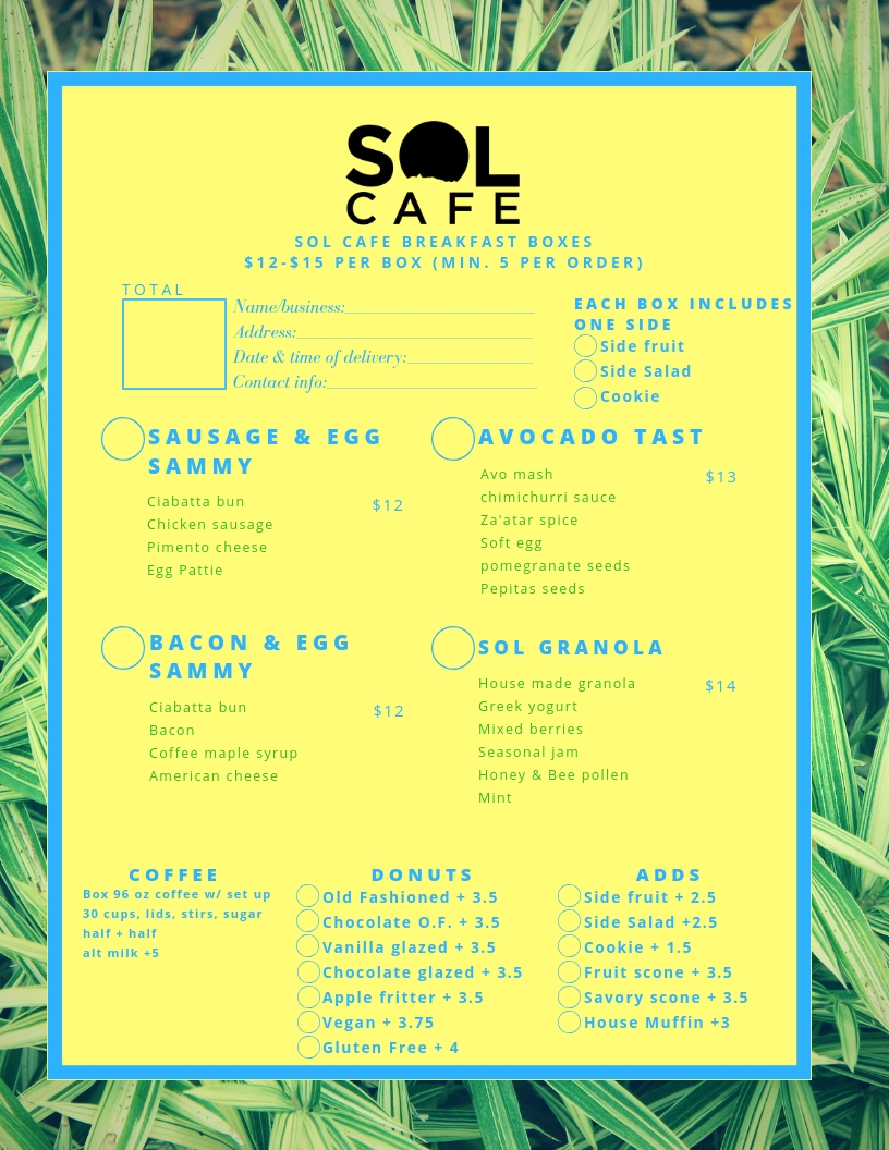 catering — Sol Cafe