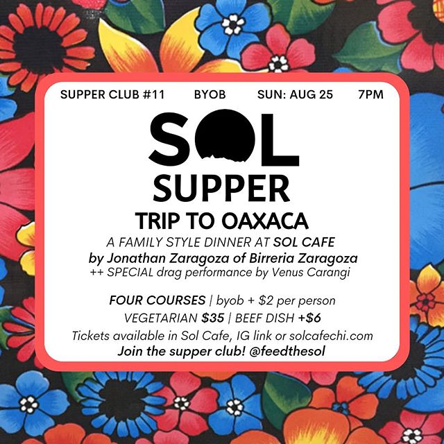☀️ SOL SUPPER 11: TRIP TO OAXACA☀️ We're beyond excited to bring Jonathan Zaragoza @goatboyintl of @birrieriazaragoza to Howard Street to throw a feast! Special drag performance by @venuscarangi || tix w link in profile || tix will go fast, this one's not to be missed. ☀️🕺🌈⚡️🔥💛💃☀️