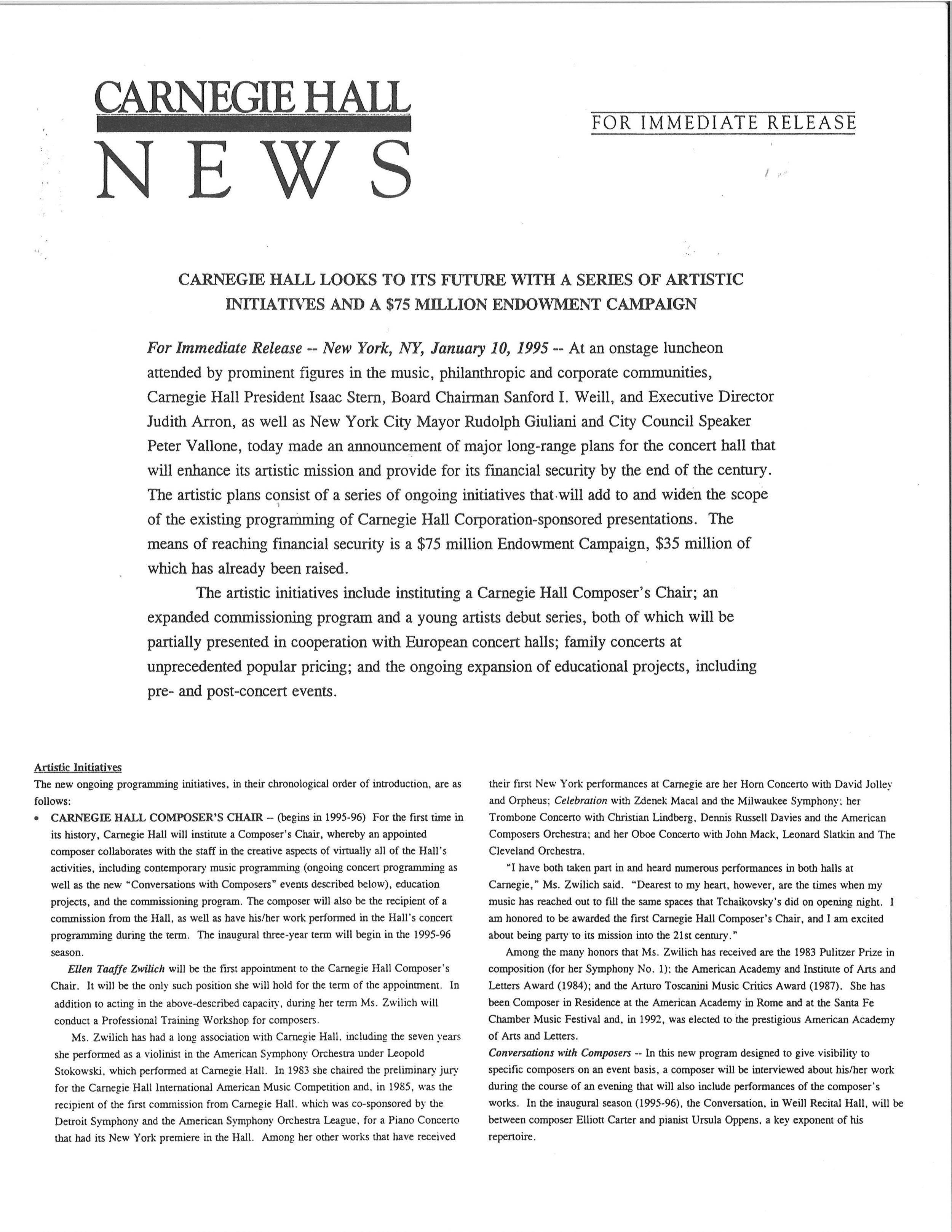 Carnegie Hall News