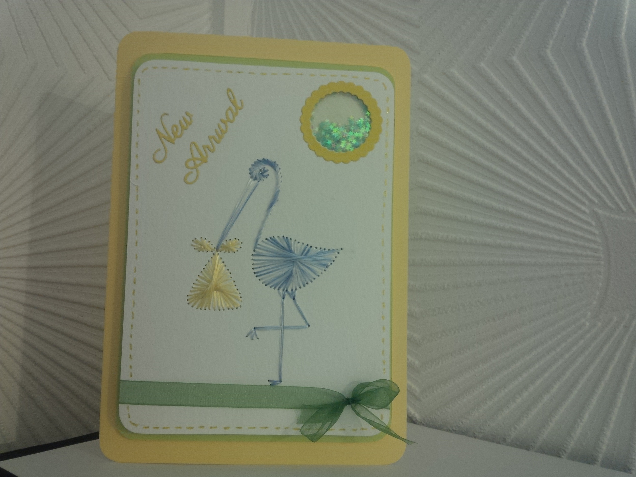 Colours used:   Stork: Grey Day   Bundle: Mellow Yellow   Stitched by Jacko's Crafty Corner