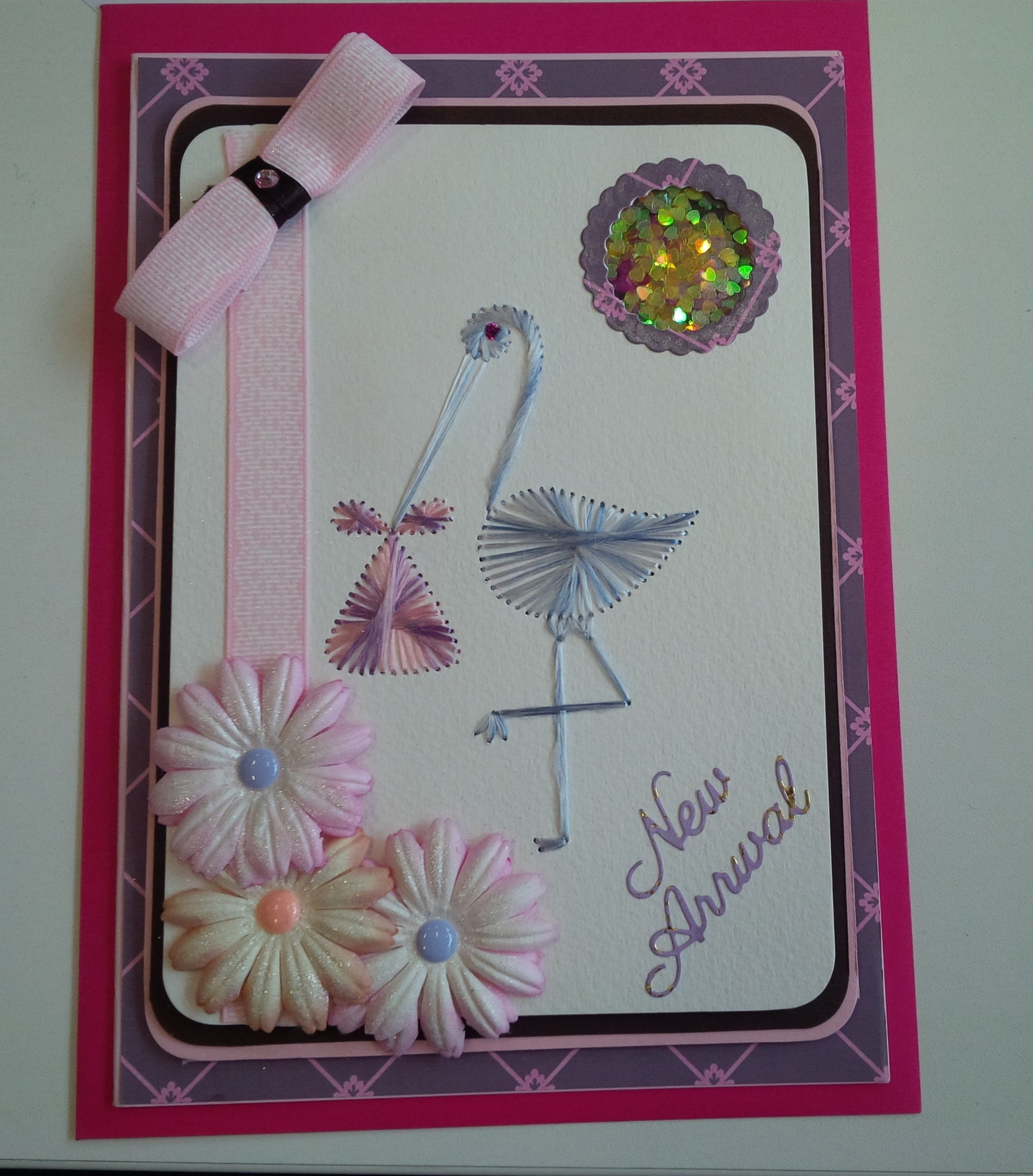 Colours used: Stork: Grey Day Bundle: Candy Mix Stitched by Jacko's Crafty Corner