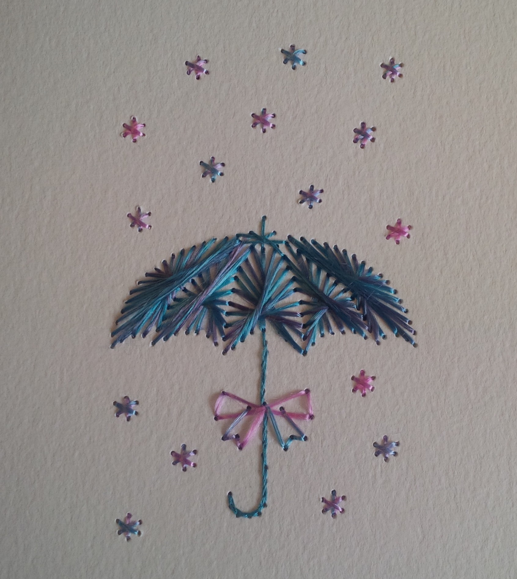 Colours used:   Umbrella: Blue & Purple   Shower: Pink & Blue   Stitched by Jacko's Crafty Corner