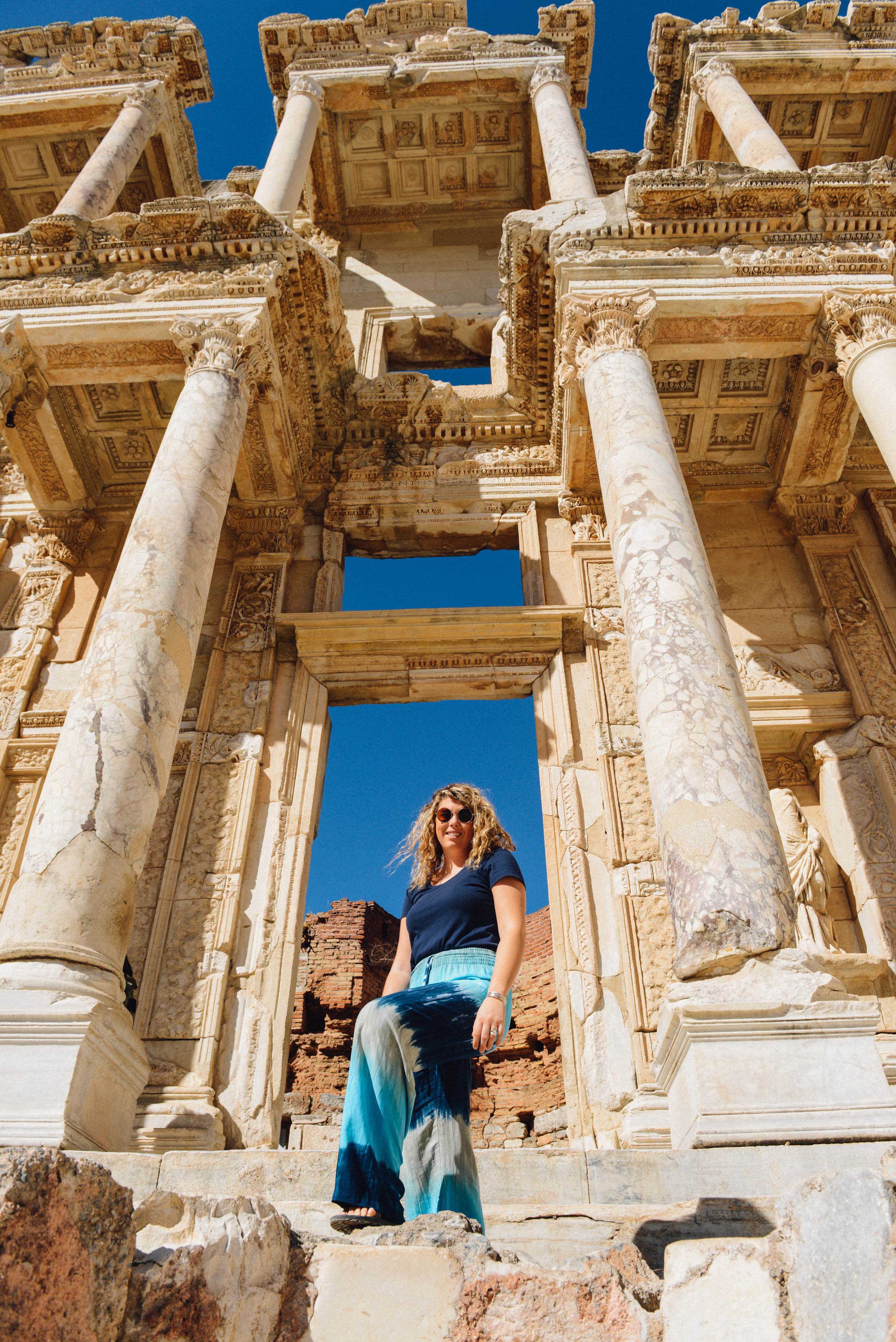 Stand in front of the Celtic Library, Ancient city of Ephesus, Turkey