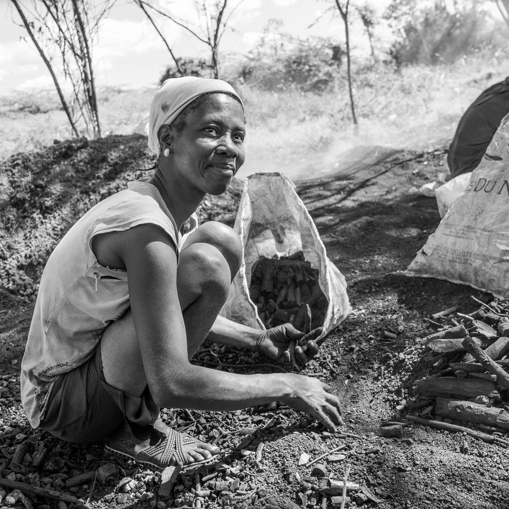 Woman charcoal producer harvesting wood charcoal