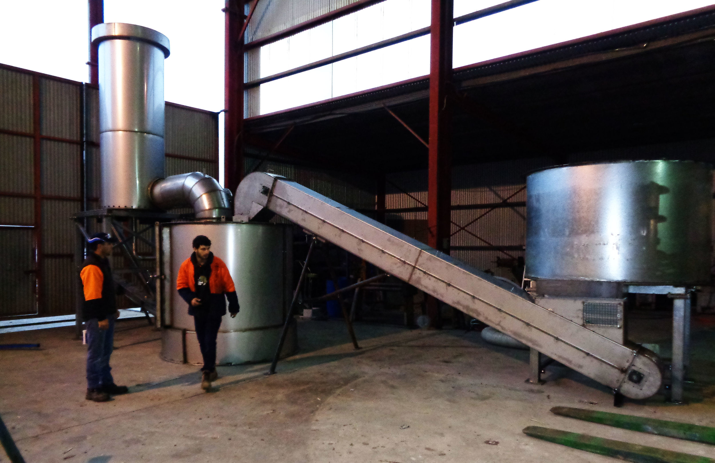 Our new continuous-feed pyrolysis system being tested before shipment from the factory.