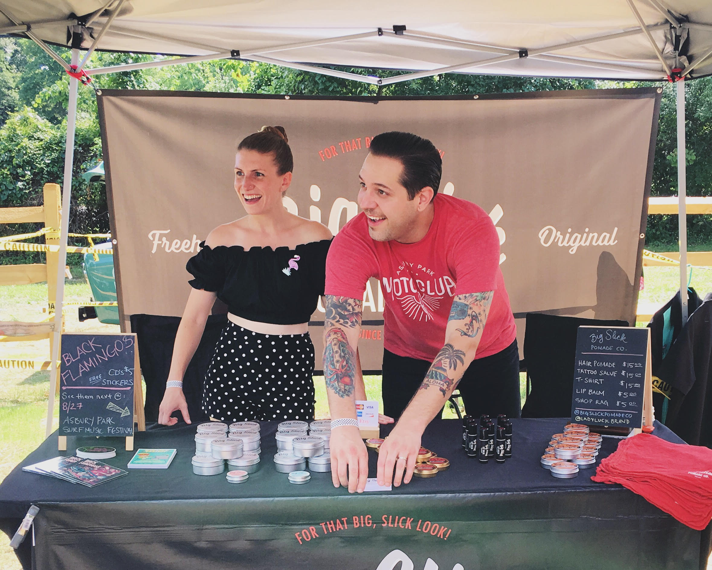 Big Slick Original Hair Pomade and Lady Luck Brand products are hand made small batches by husband and wife Vincent Minervino and Magdalena O'Connell, founders of the Asbury Park Surf Music Festival.