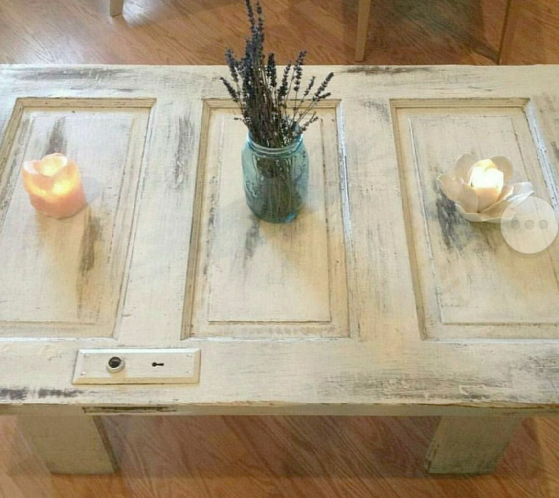One of Brian's first designs, reclaimed wood doors re-purposed as coffee tables.