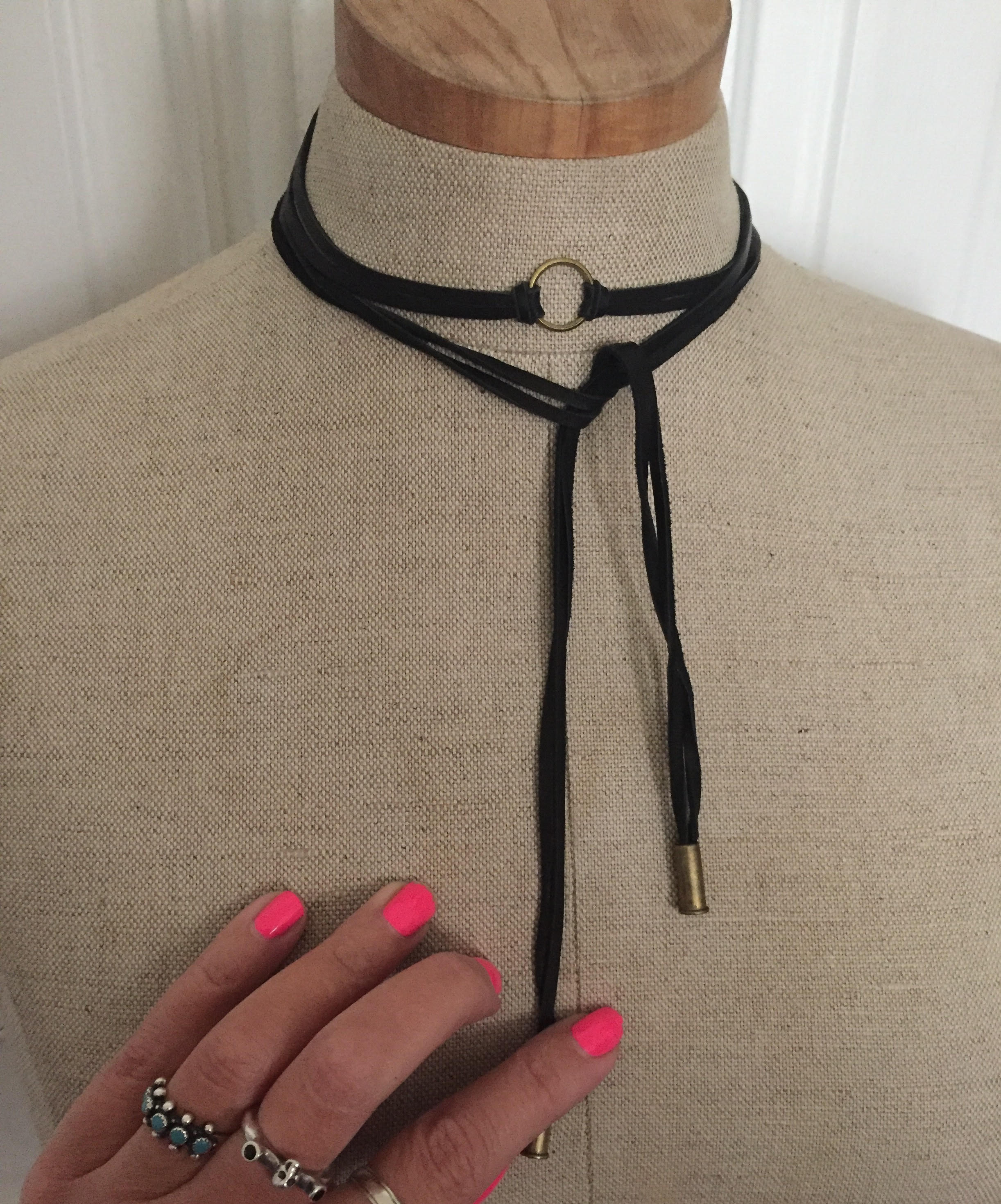 Handmade black leather wrap necklace by Modern Hex.