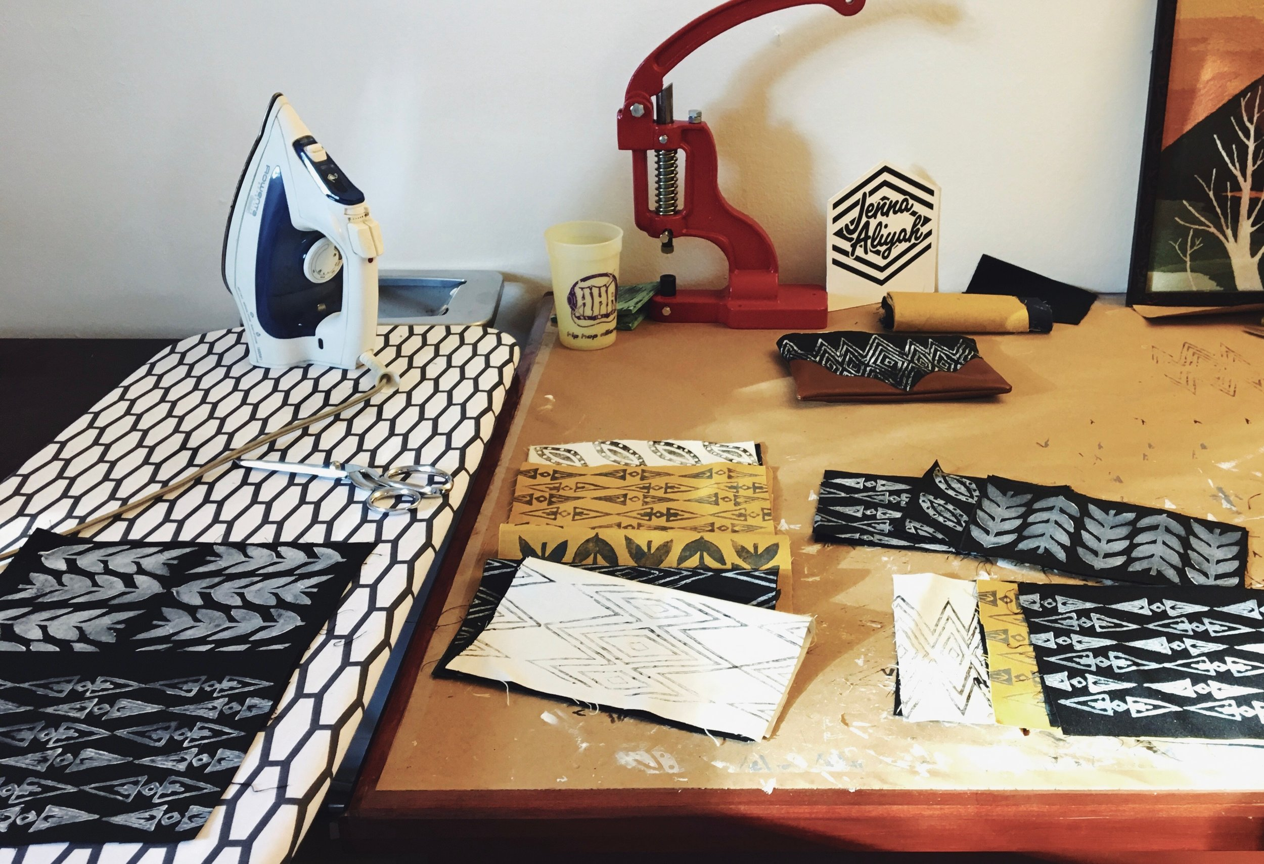 Jenna's awesome print-cut-sew production space.