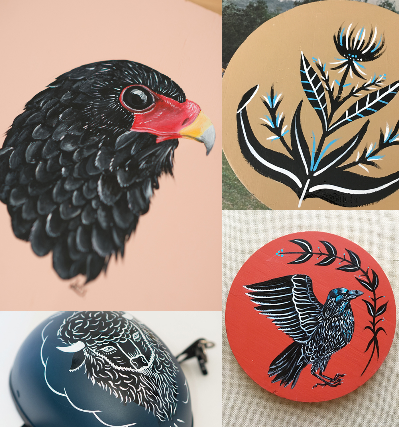 Derwood Paint Co. conveys the beauties of flora and fauna both great and small and range from delicate ink drawings and watercolors on paper to striking 1 Shot enamel paintings on wood.