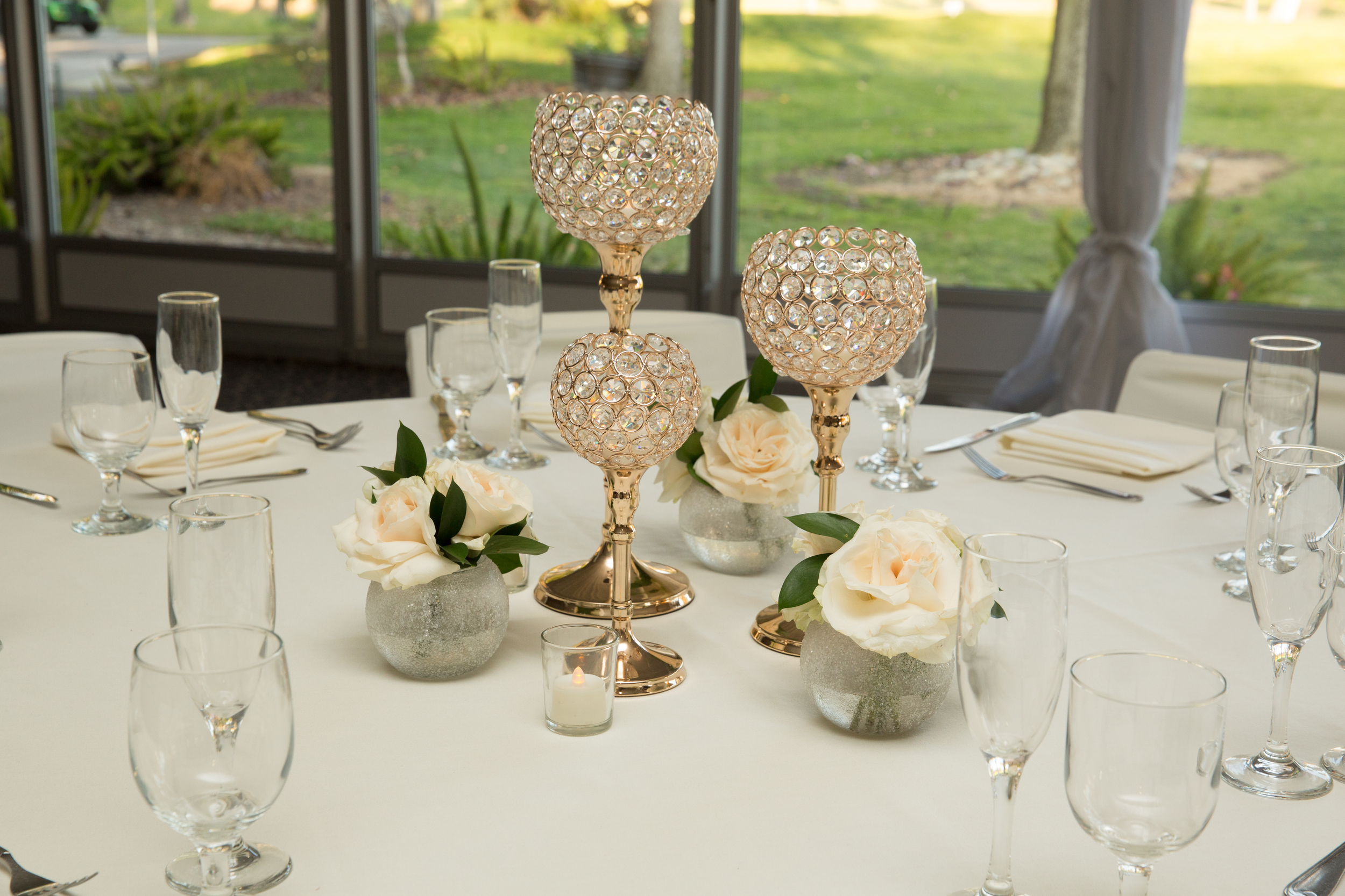 WC-1604 / jeweled candle set with flora