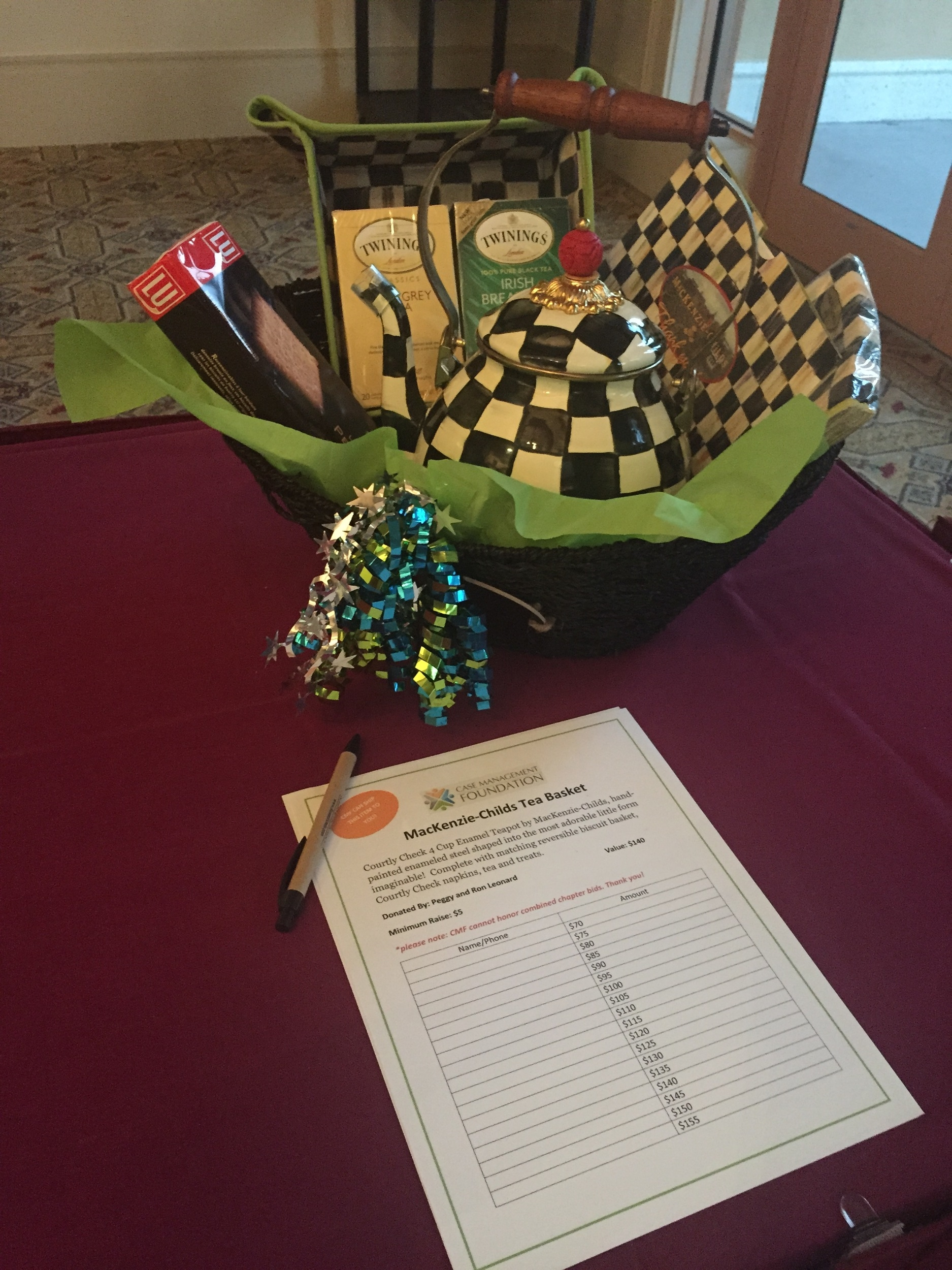 One of the donated baskets at our second annual fundraising auction