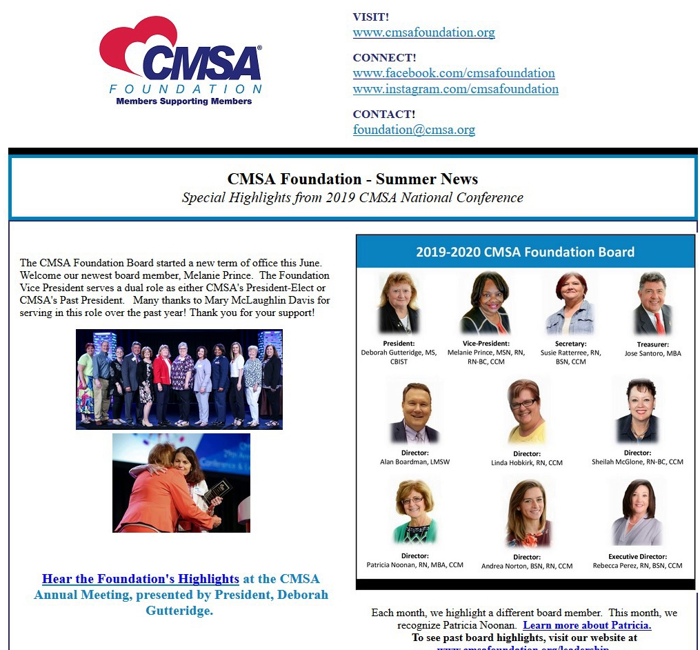 Summer 2019 News - Special highlights from the 2019 CMSA Annual Conference featuring Foundation activities during conference, donor highlights, award recipients, and other special recognition.