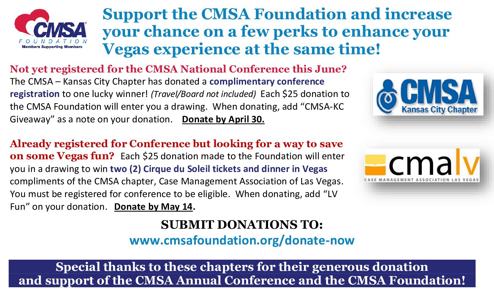 Many thanks to these chapters for their support in donating giveaways!
