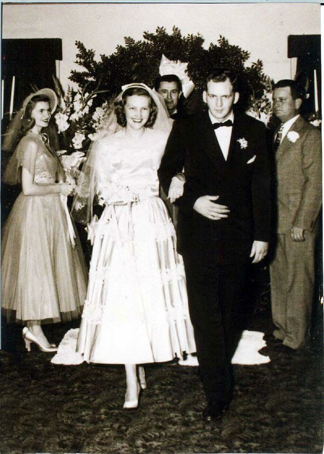 J.B. and Johnelle Hunt on their wedding day, January 19, 1952.