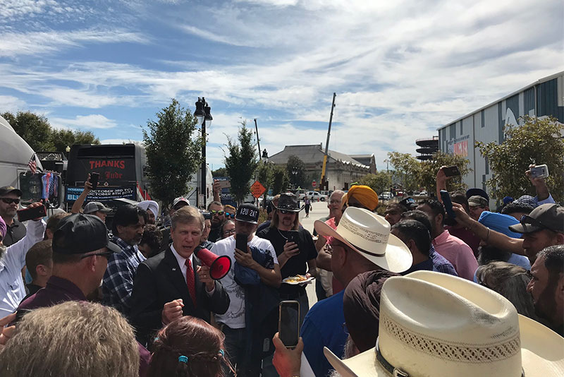 Rep. Brian Babin, R-Texas, leads truckers protesting the pending electronic logging device regulation in Washington. (Photo: Brian Babin)