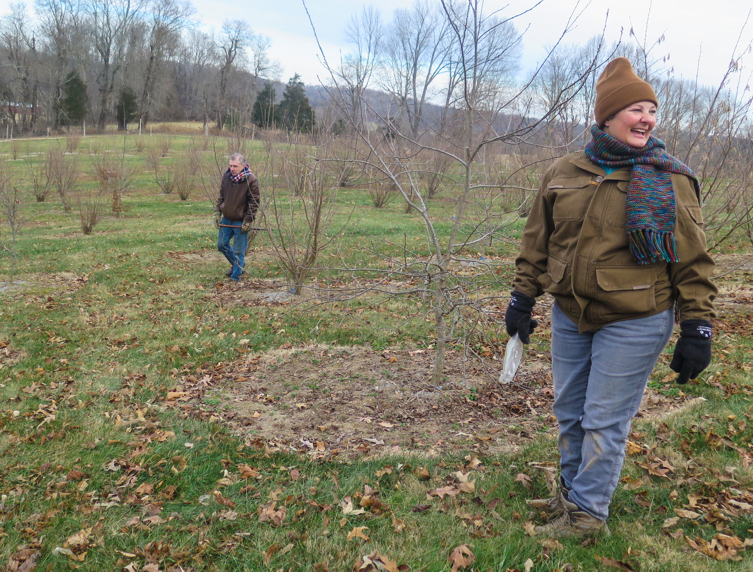 Margaret Townsend and Tom Michaels walked the grounds during the truffle hunt.