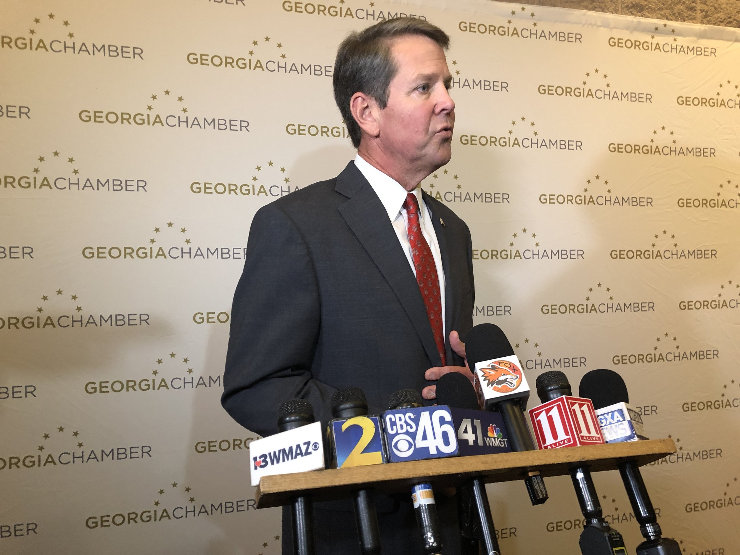 Republican candidate for governor Brian Kemp on the campaign trail in Macon