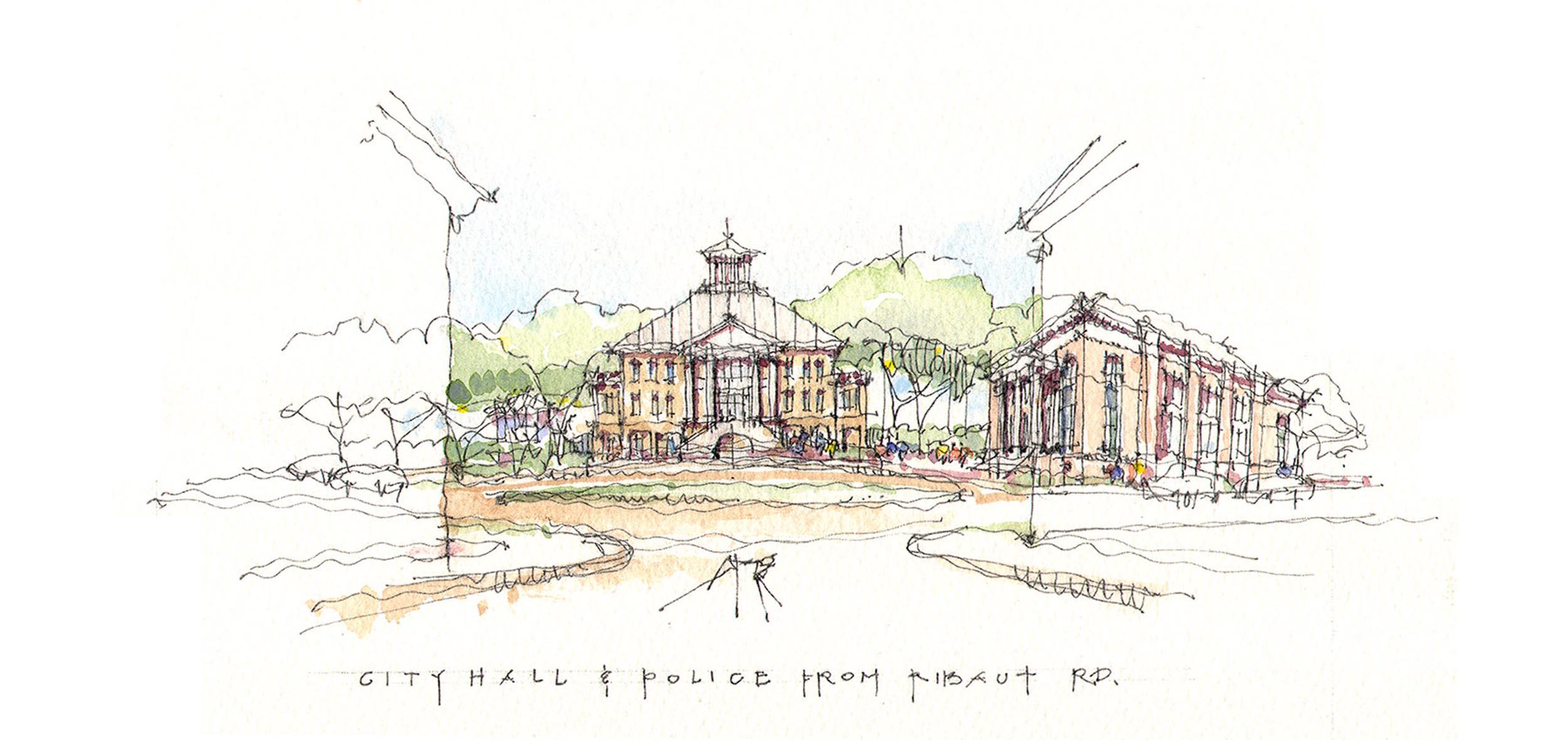 The new City Hall terminates Ribaut Road