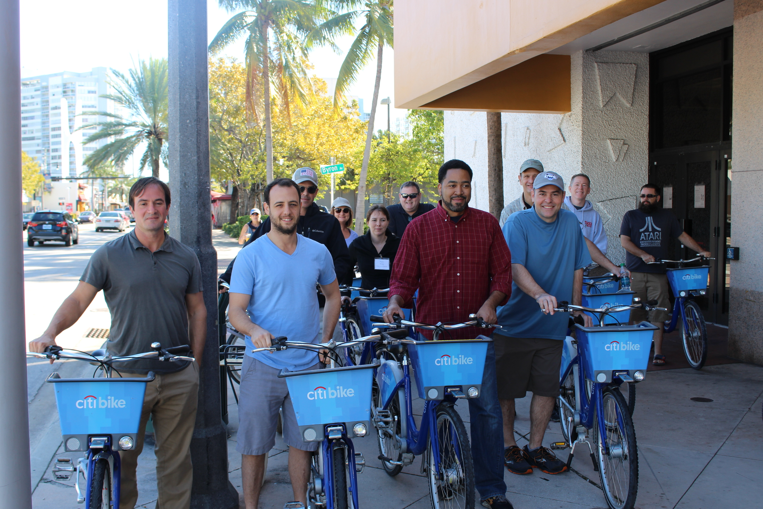 (Left to Right, front): Dover, Kohl & Partners' Principal Jason King, Planner Zach Parnas, and Project Director Hernan Guerrero participating in a bike tour as part of the North Beach Master Plan charrette.