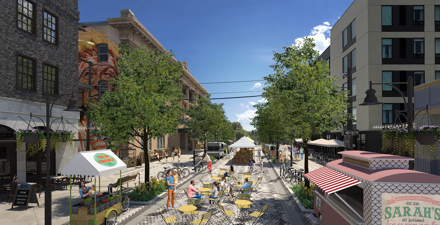 A reimagined Pattee Street Between Front and Main streets looking south - Shared Street Concept, Closed to Cars on Special Occasions