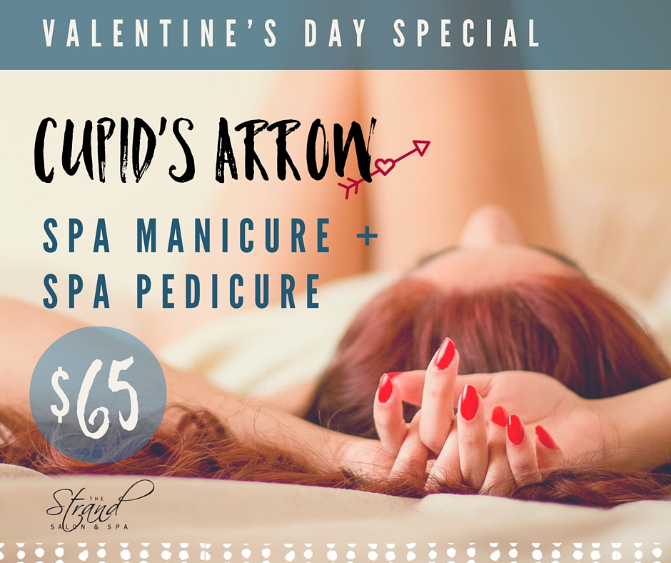 Spa manicure and spa pedicure Valentine's day special at the Strand Salon & Spa in Columbia, MO.