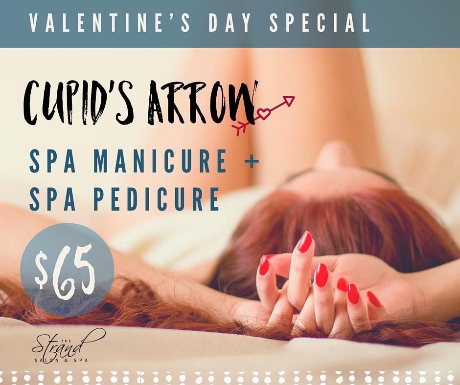 Spa manicure and spa pedicure Valentine's day special at the Strand Salon & Spa in Columbia, MO.