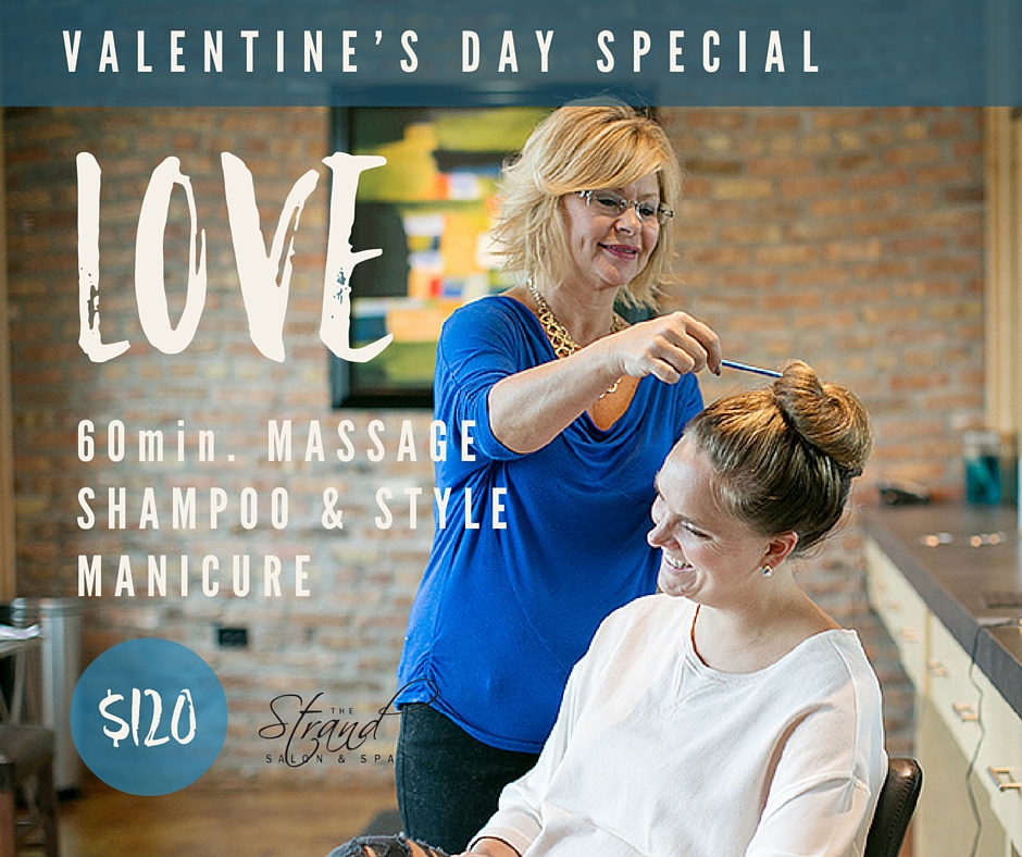 60 minute massage, shampoo & style, and a manicure for our Valentine's day special at the Strand Salon & Spa in Columbia, MO.