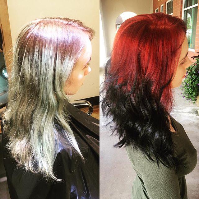⚫️❤️⚫️❤️⚫️❤️ Queen done by @taylorrneacoleman #balayage #redhair #blackhair #waves #fire #hairinspo #beforeandafter #hair #beautiful #aveda #redken #joico @modernsalon