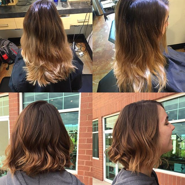 Tone and cut by @taylorrneacoleman! Someone was ready for a new fall look! #beforeandafter #bob #brunette #aveda #hair #hairstylist #hairstyle #redken #beautiful #fun #flirty #hairinspo