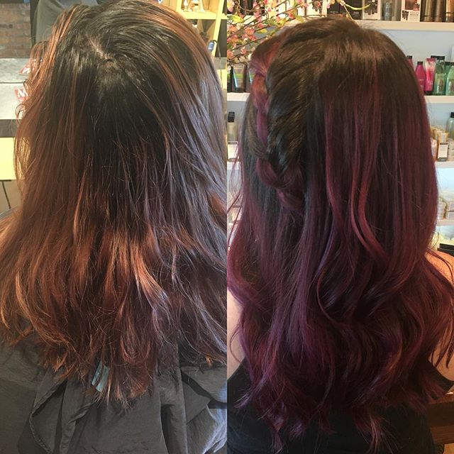 Color+style by @allie_linder  #balayage #creativecolor #pulpriot @pulpriothair #btc #behindthechair @behindthechair_com #cosmoprof #purplehair #purplebalayage #colormelt #hairpainting #instahair #hairmakeover #hairtransformation #beforeandafter #makeover