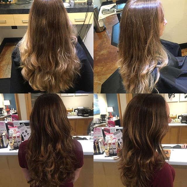 The weather is getting colder so we're warming things up! Balayage done by @taylorrneacoleman #balayage #ombre #autumn #fallhair #brunette #curls #hair #hairstyles #hairinspo #beforeandafter #longhair #aveda #beautiful #redken
