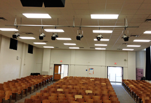 This school has two light trusses, with 6 instruments each, that go unused.