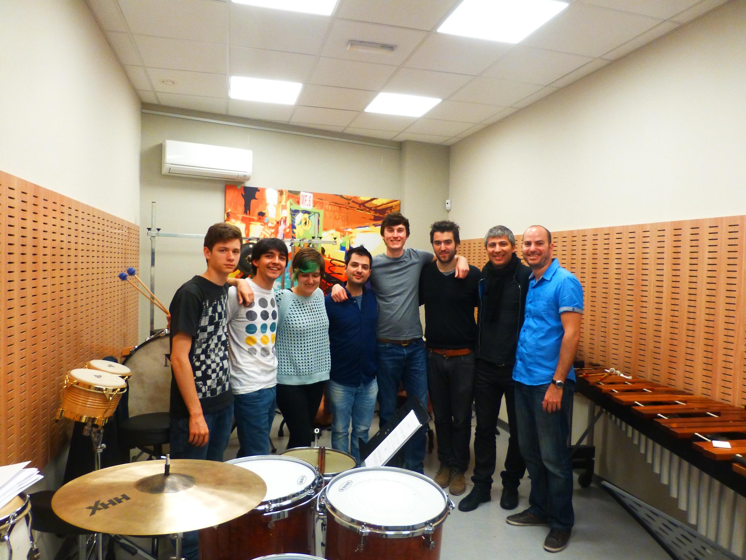 With the percussion students of the Katerina Gurska School of Music in Madrid