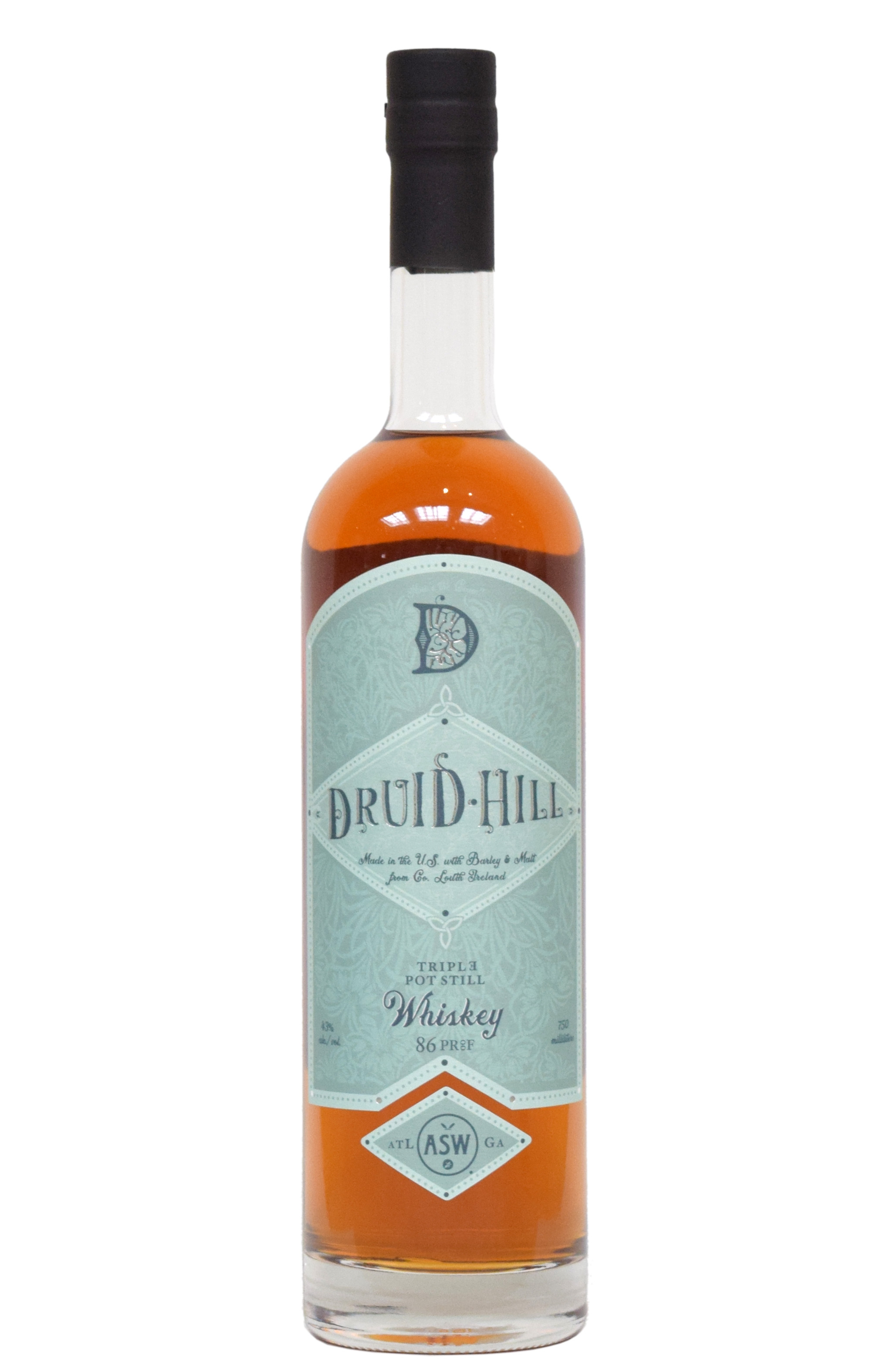 ASW Distillery - Atlanta's Hometown Bourbon Rye Malt Whiskey Distillery - Druid Hill Irish Style Whiskey White Background.jpg