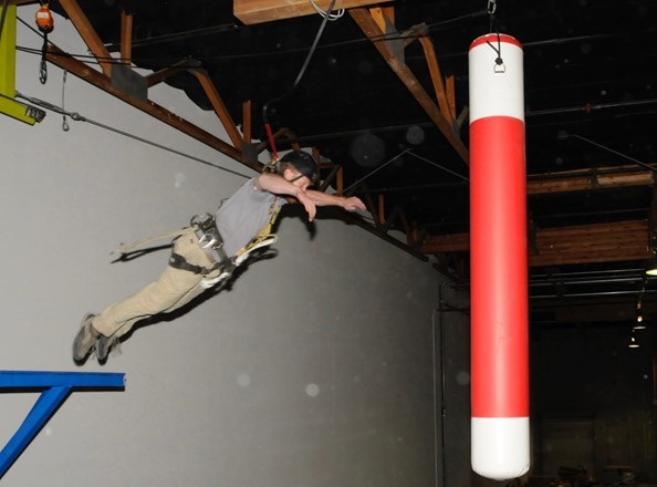 This picture is from an indoor climbing course built by Aerial Designs at Jump Around Now, an amusement center in Chula Vista, California.