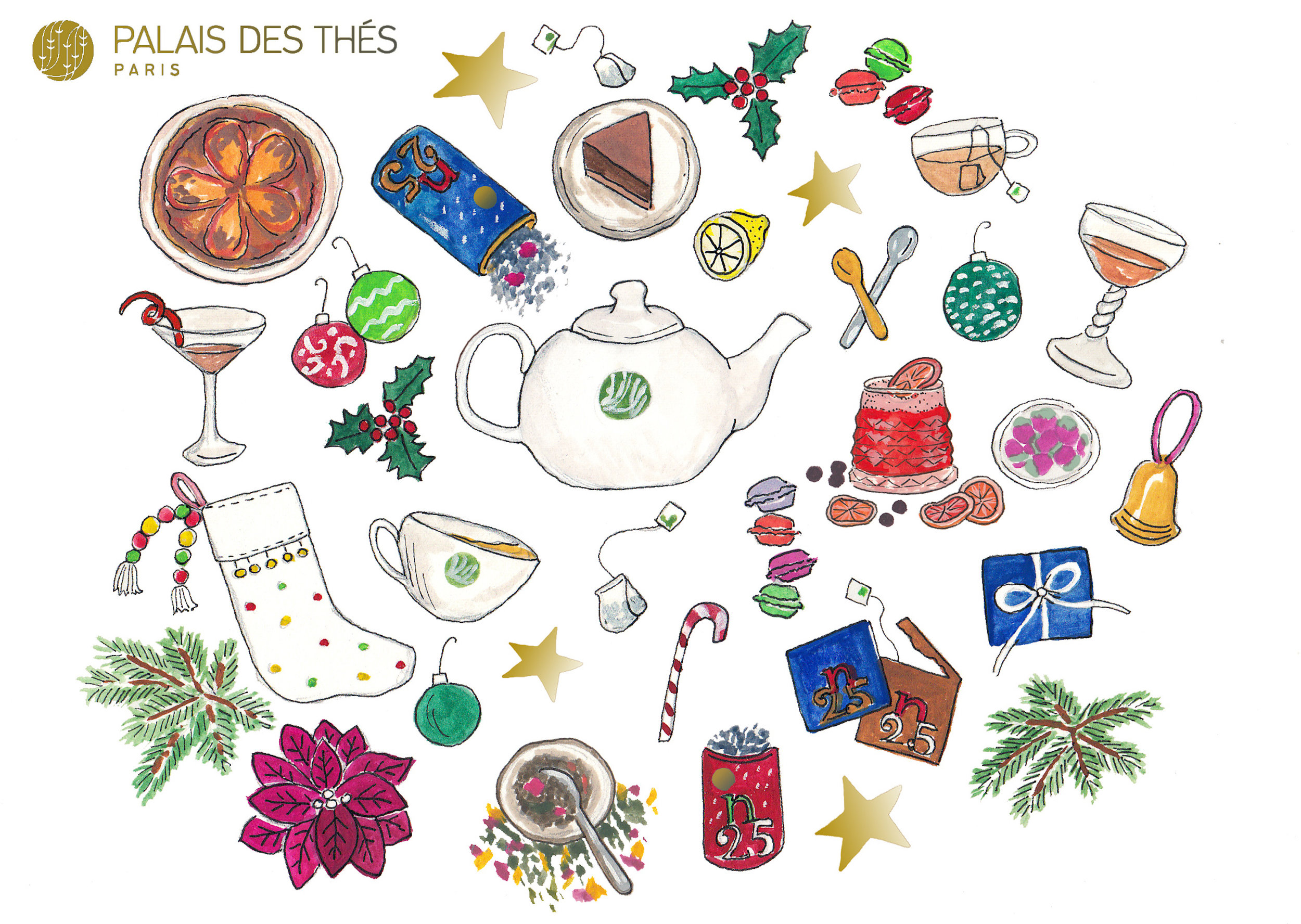 Palais Des Thés - Custom holiday card for Parisian tea company, Palais des Thés.