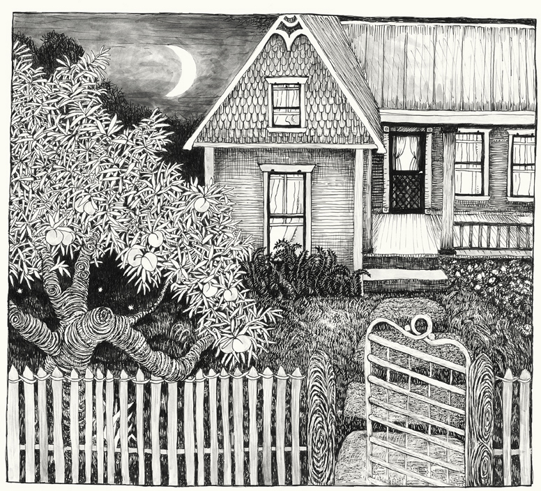 "This is an illustration by Valerie Fowler of our old house on South Second St. here in Austin where we recorded Okkervil River's ""Black Sheep Boy"". (The picture is from my illustrated Earmovie Musical, ""Ivy and the Wicker Suitcase"".) It mostly looked like this when we were recording, except the gate is different, and there was no peach tree out front."