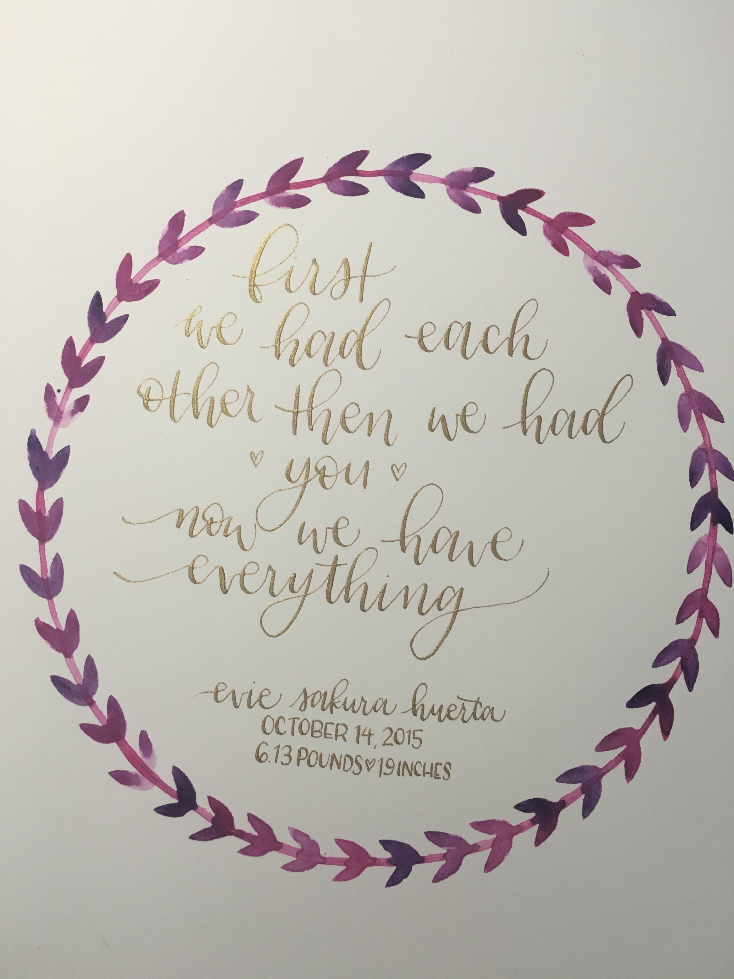 circle wreath with custom calligraphy materials: purple/pink watercolor, gold ink + pointed pen