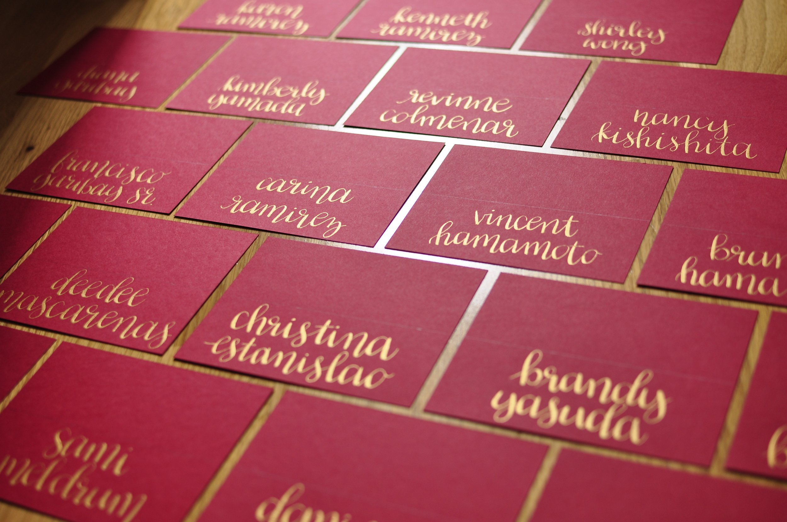 wedding table name cards materials: nikko g nib + gold ink on red cardstock