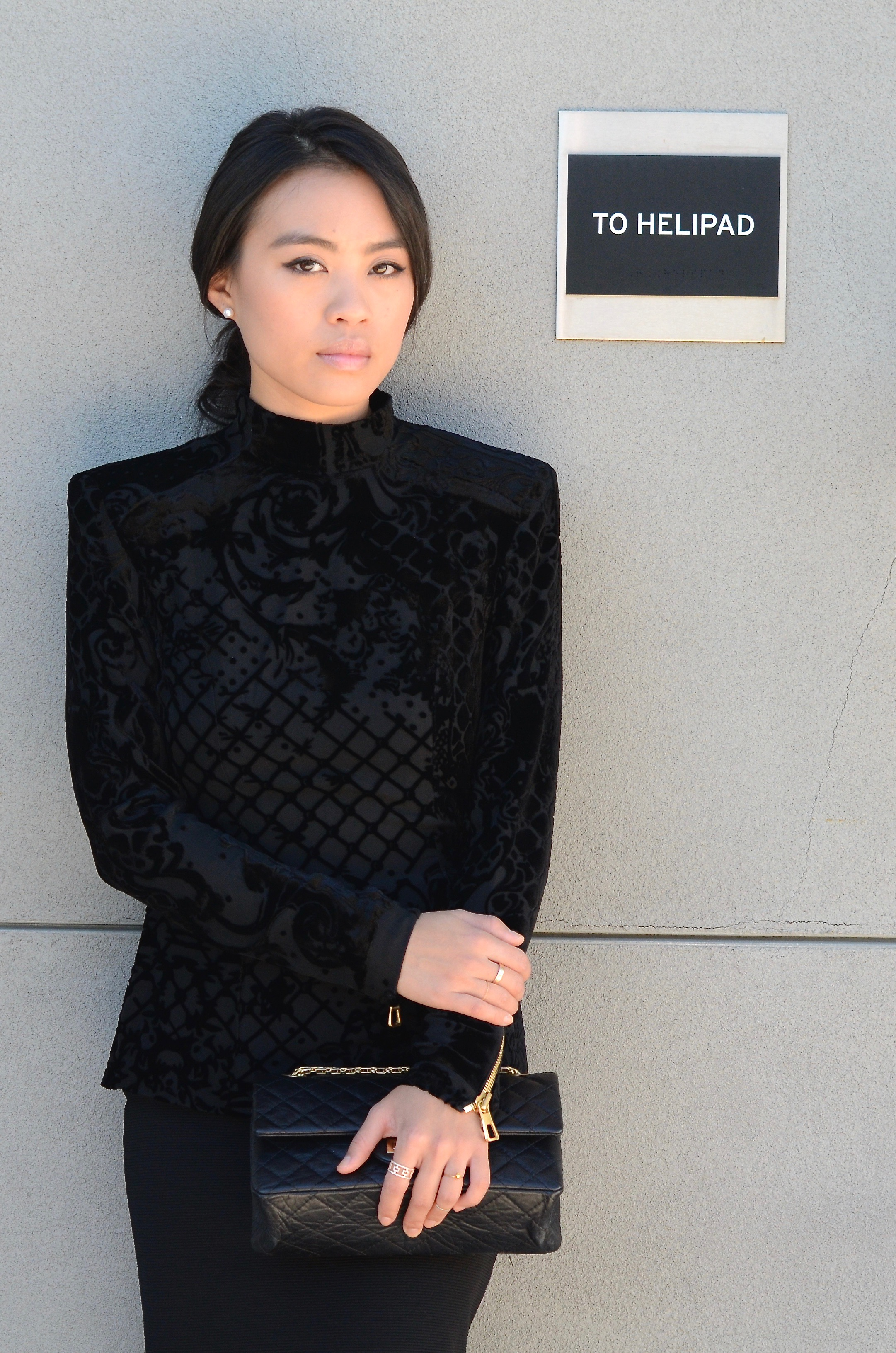 Just Goh With It-Outfit-Black-HM-Balmain-velvet-Turtleneck-gold-strappy-sandals-skirt-chanel-1.jpg