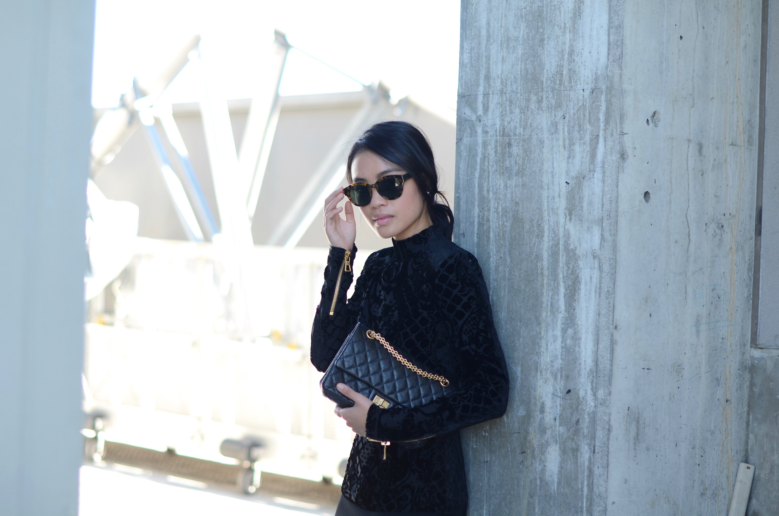Just Goh With It-Outfit-Black-HM-Balmain-velvet-Turtleneck-gold-strappy-sandals-skirt-chanel-3.jpg