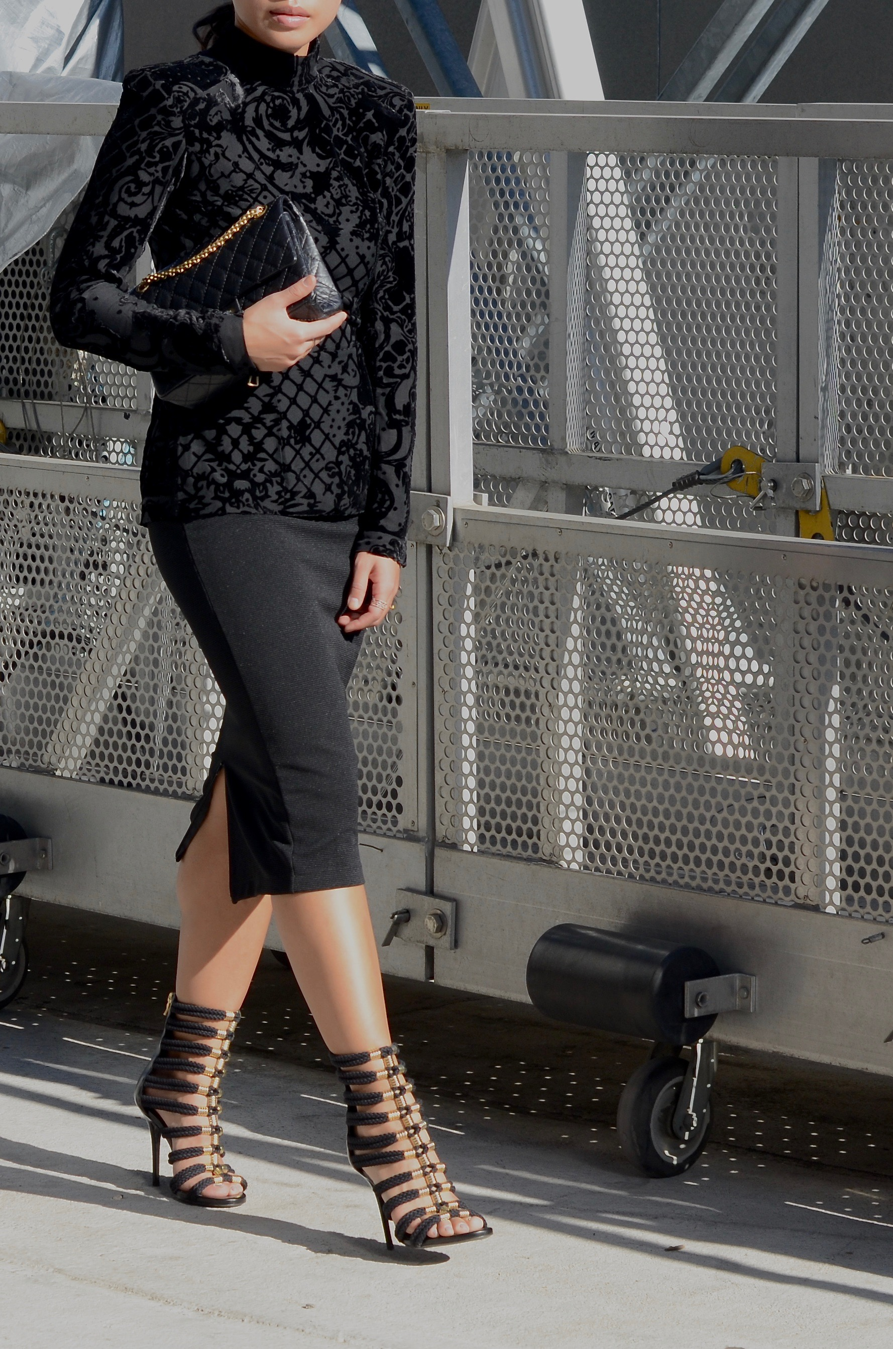 Just Goh With It-Outfit-Black-HM-Balmain-velvet-Turtleneck-gold-strappy-sandals-skirt-chanel-5.jpg