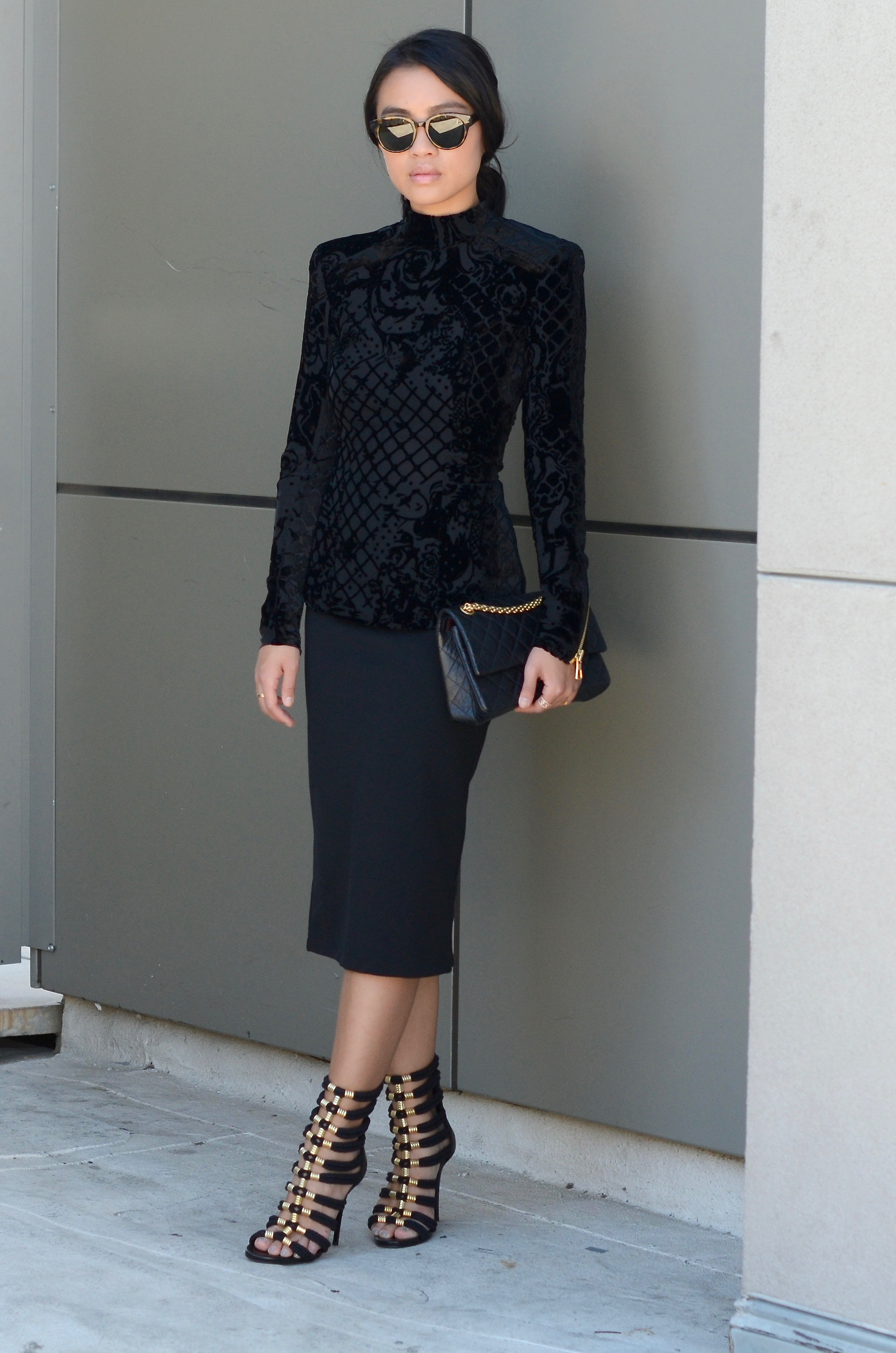 Just Goh With It-Outfit-Black-HM-Balmain-velvet-Turtleneck-gold-strappy-sandals-skirt-chanel-8.jpg