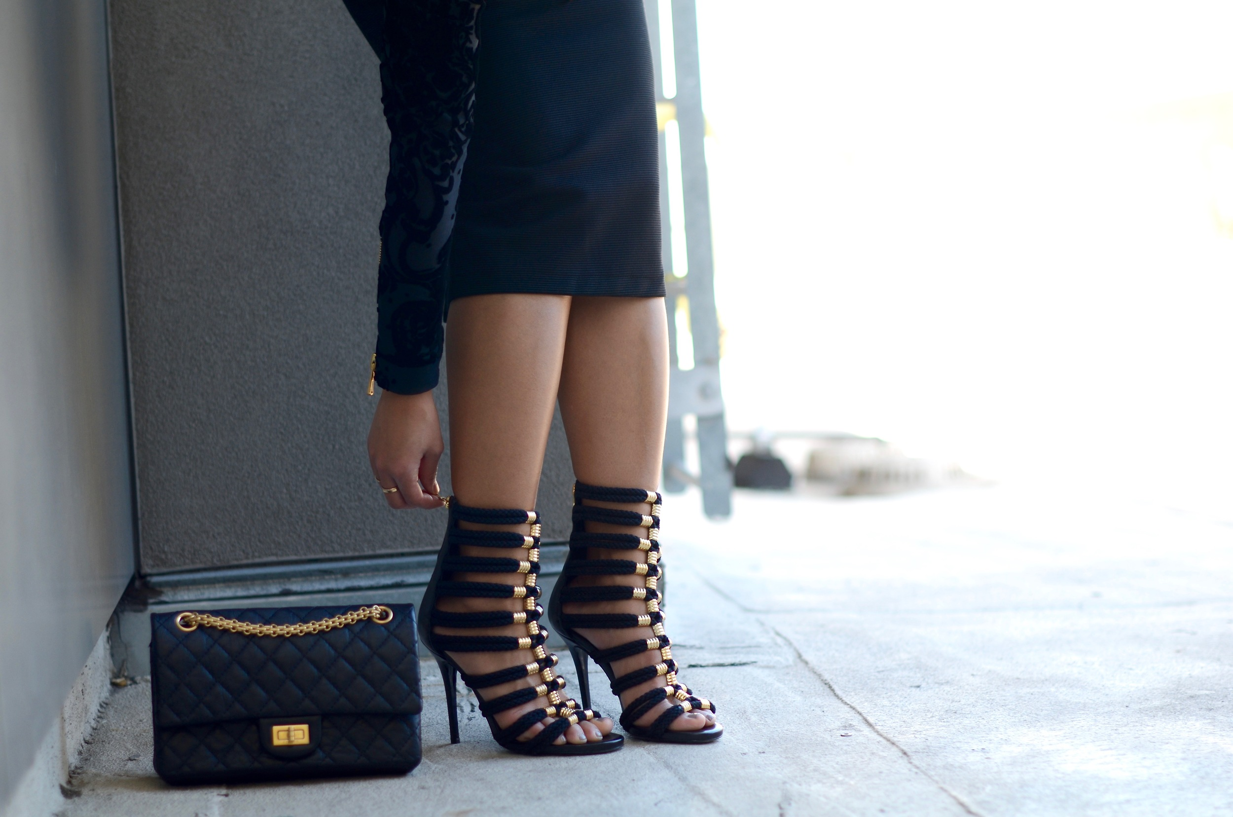 Just Goh With It-Outfit-Black-HM-Balmain-velvet-Turtleneck-gold-strappy-sandals-skirt-chanel-9.jpg
