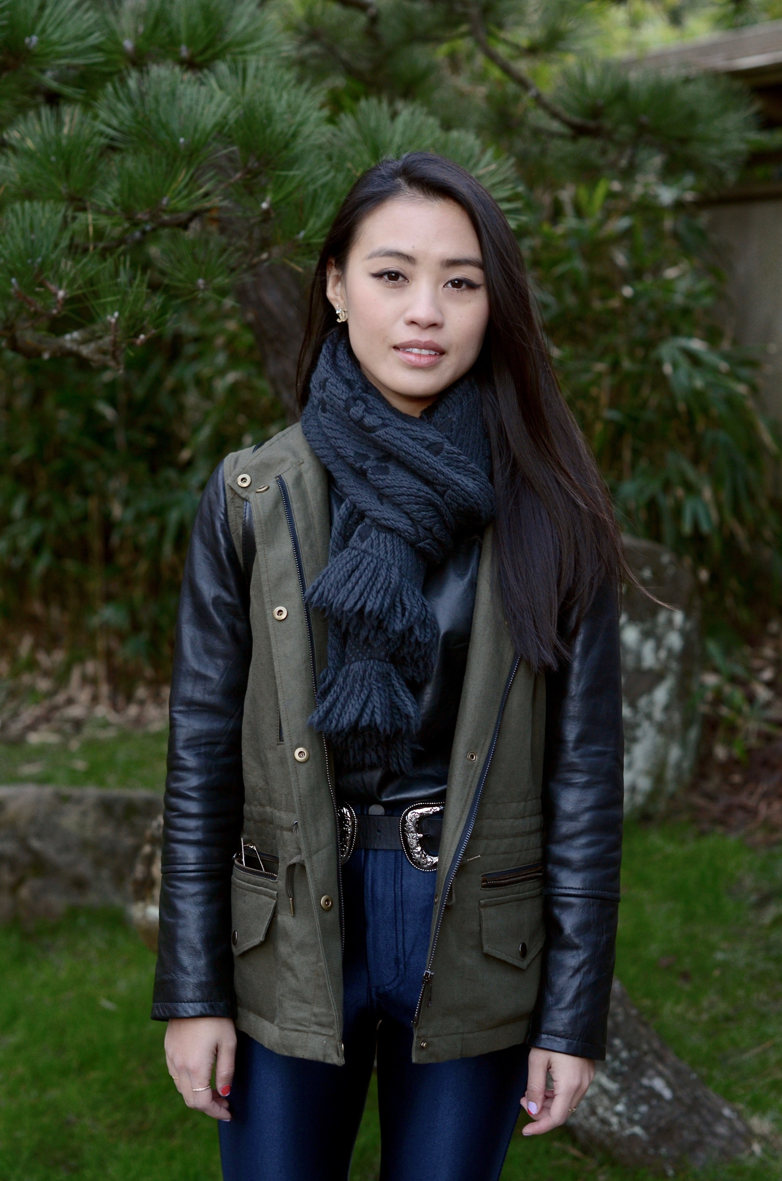 Just Goh With It-Outfits-club-monaco-parka-american-apparel-disco-metallic-pants-b-low-the-belt-all-saints-over-the-knee-boots-louis-vuitton-scarf-1.jpg