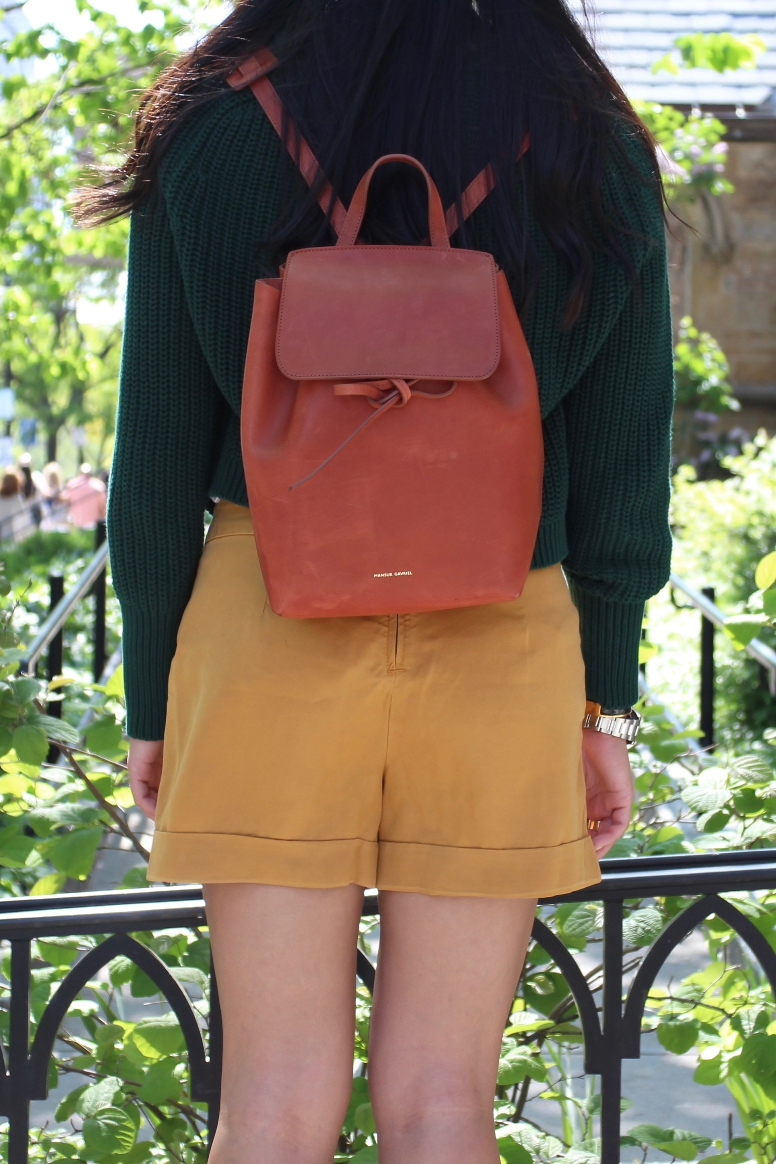 Just Goh With It-Outfit-American-Apparel-forest-Green-Sweater-Zara-Mustard-Yellow-Shorts-dvf-wedges-3.jpg